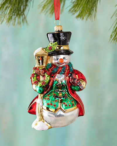 Snowman with Lantern Christmas Ornament