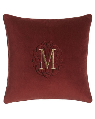 Arielle Wine Velvet Pillow with Monogram, 20