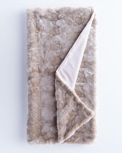 Gray Faux-Fur Throw