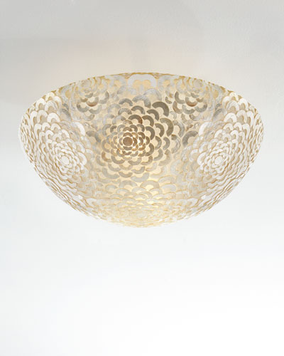 Floral Capiz Large Flush-Mount Ceiling Fixture