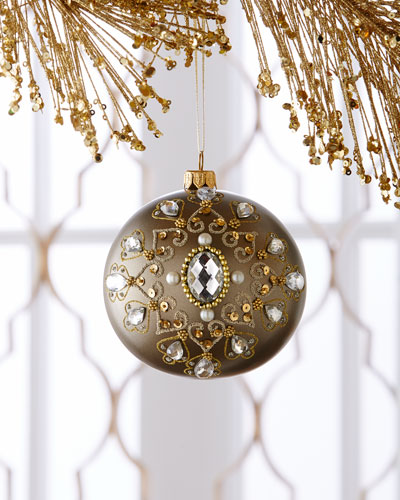 Embellished Antiqued-Gold Metallic Christmas Ball Ornament