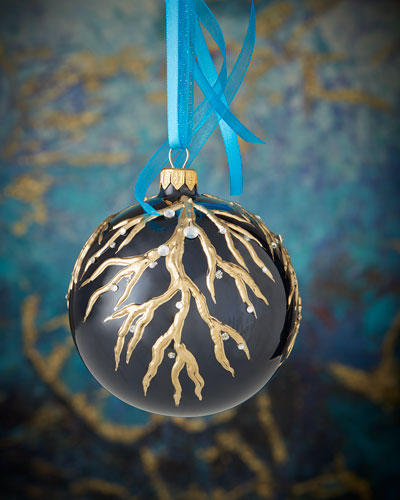 Silver-Embellished Navy Blue Opalescent Ball Christmas Ornament
