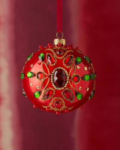 Gem-Embellished Shiny Red Ball Christmas Ornament