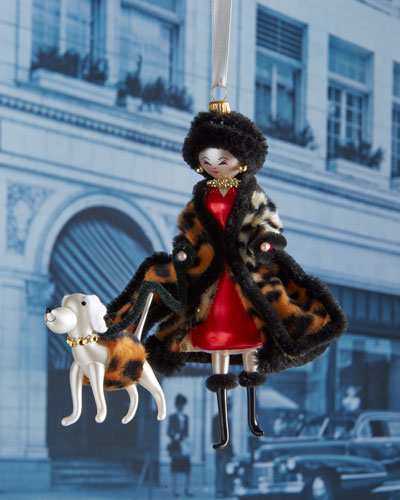 Rebecca with Leopard Coat Christmas Ornament