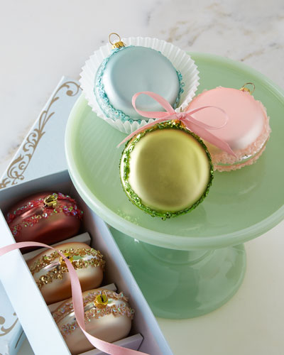 French Macaron Christmas Ornaments, 6-Piece Set