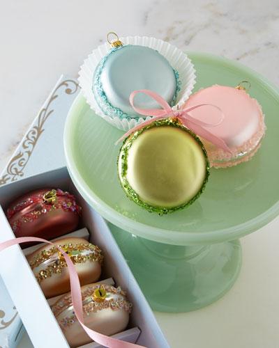 French Macaron Christmas Ornaments, 6-Piece Set