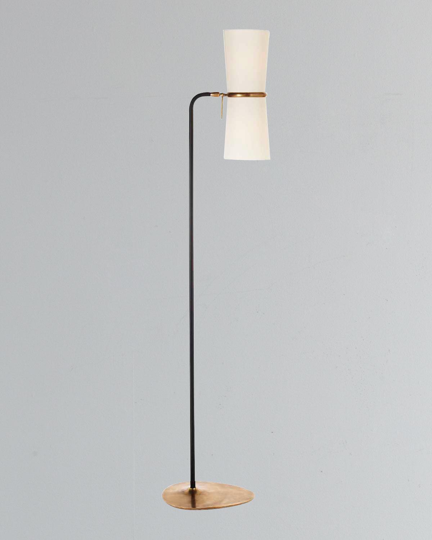 Aerin Home decors CLARKSON ANTIQUED-BRASS & BLACK FLOOR LAMP
