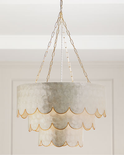 Three-Tiered Scalloped Capiz 3-Light Pendant