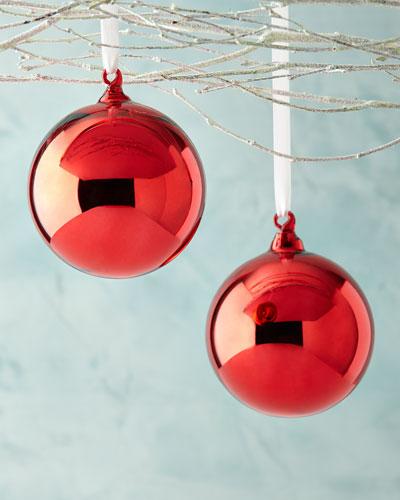 Shiny Ball Christmas Ornaments, Set of 2