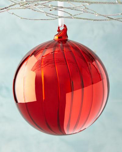 Shiny Fluted Ball Christmas Ornament