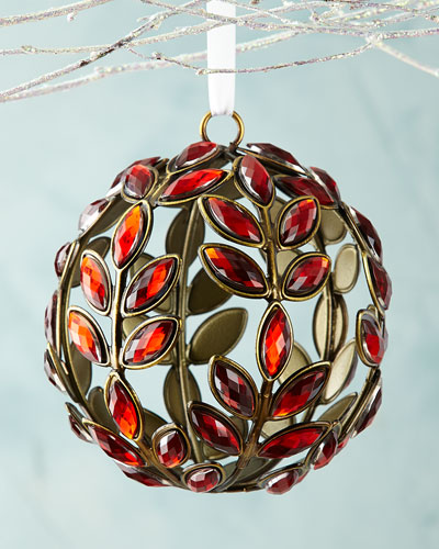 Red-Gem Leaf Ball Christmas Ornament