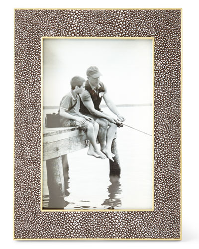 Classic Chocolate Faux-Shagreen Frame, 4