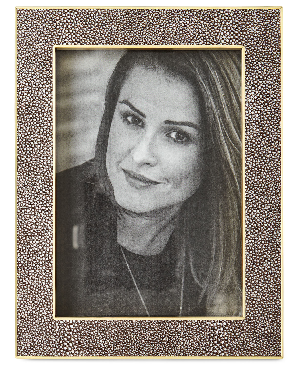 """Aerin Picture frames CLASSIC CHOCOLATE FAUX-SHAGREEN 5"""" X 7"""" FRAME"""