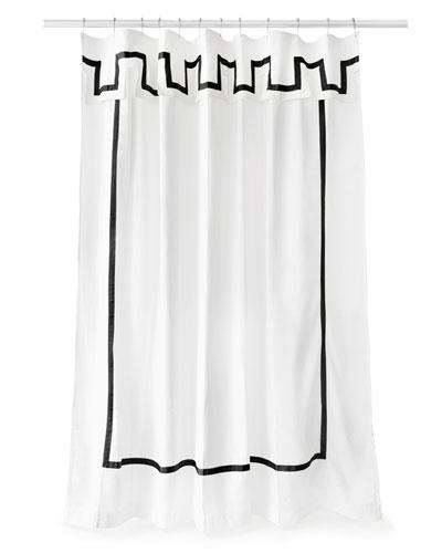 Santorini Black and White Shower Curtain