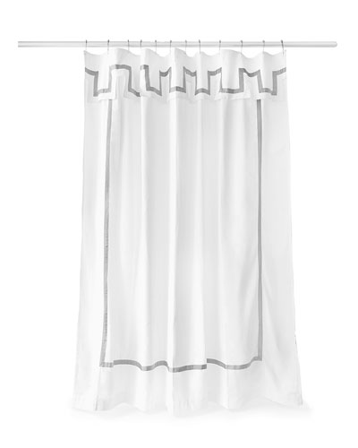 Santorini Gray and White Shower Curtain
