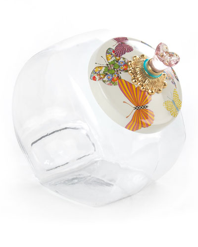 Cookie Jar with White Butterfly Garden Lid