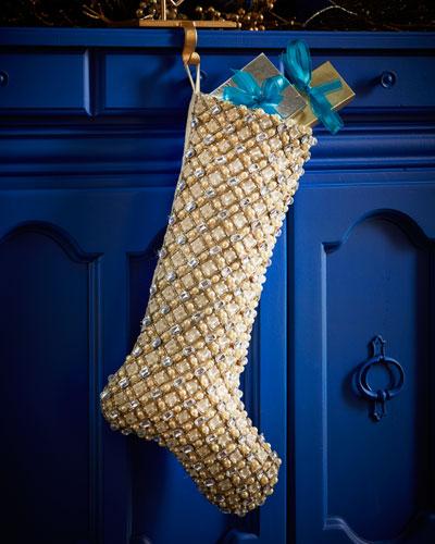 Shimmer Grid Christmas Stocking