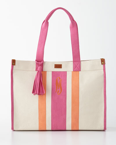 Pink/Orange Monogrammed Tote with Tassel