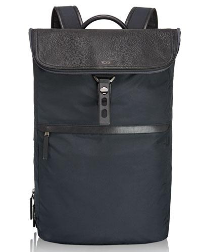 Navy Elias Flap Backpack