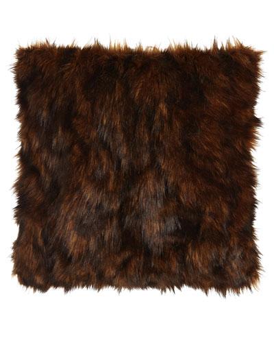 Lantana Chocolate Faux-Fur Pillow, 22