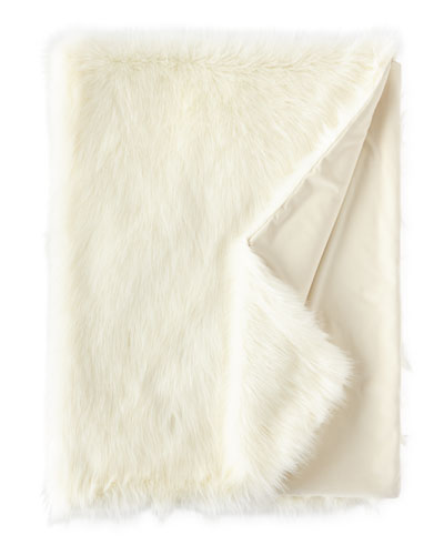 Square Feathers Pearl Shag Faux - fur Throw, 58 X 72