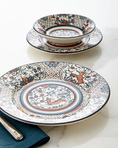 12-Piece Marrom E Azul Dinnerware Service