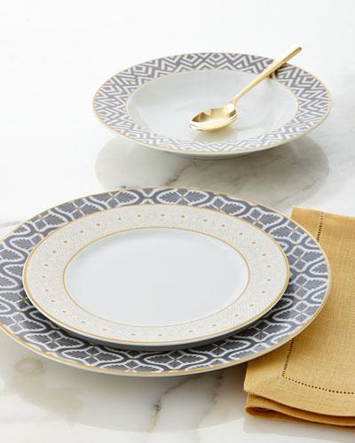 12 - Piece Gray / Yellow Dinnerware Service