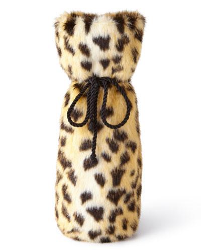 Leopard Faux-Fur Wine Bag
