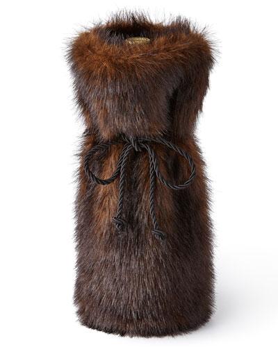Sable Faux-Fur Wine Bag