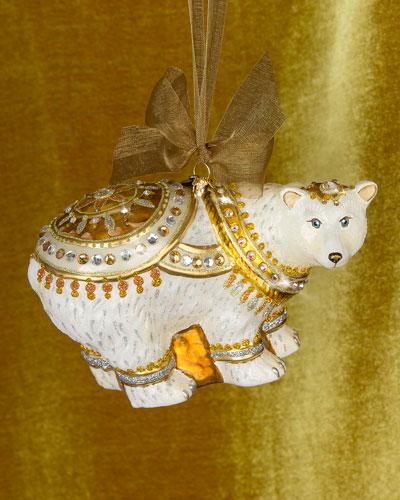 Polar Bear Glass Christmas Ornament