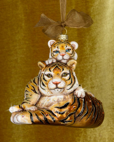 Mother & Baby Tiger Christmas Ornament