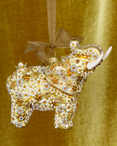 Mille Fiori Elephant Christmas Ornament