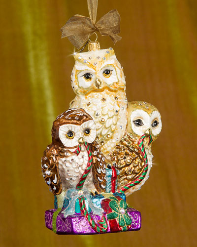 Owls with Gifts Christmas Ornament