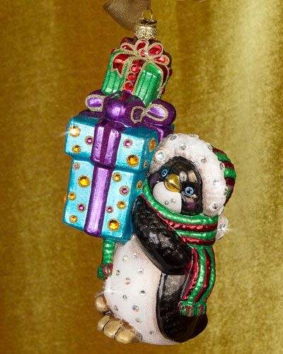 Penguin with Gifts Christmas Ornament
