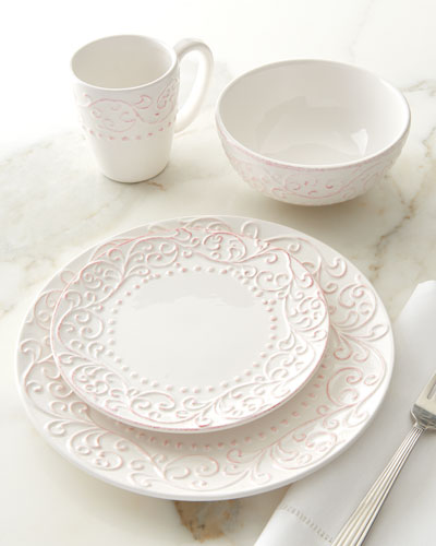 16-Piece Bianca Scroll Dinnerware Service & Dishwasher Safe Earthenware Dinnerware | Neiman Marcus