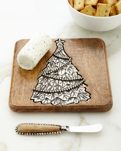 Small Tree Serving Board with Spreader