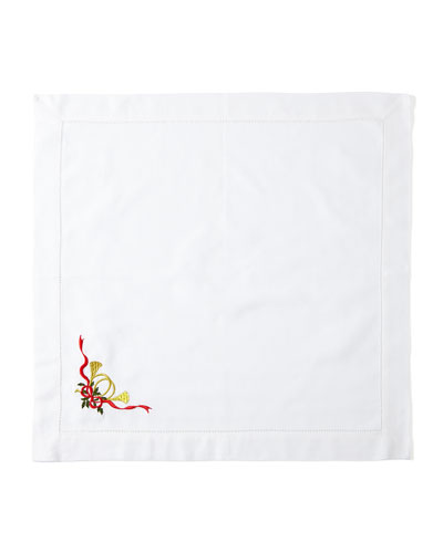 Christmas Horn Napkins, Set of 4