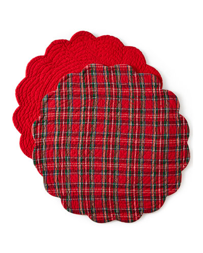 Classic Red & Green Round Reversible Plaid Placemats