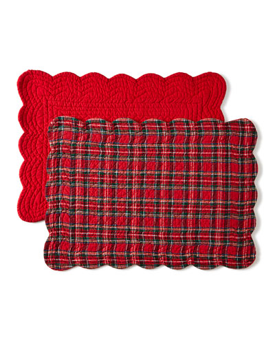 Classic Red & Green Rectangular Reversible Plaid Placemats, Set of 4