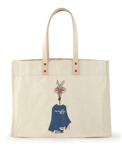 PARKER THATCH Muffy Navy Extra-Large Personalized Tote