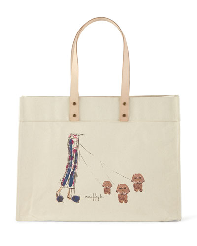 PARKER THATCH Muffy & Mortimer Extra-Large Personalized Tote in Multi Colors