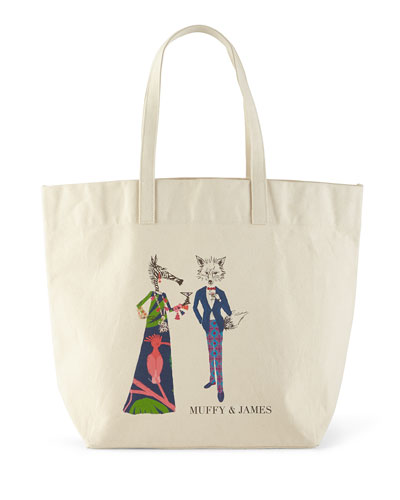 PARKER THATCH Muffy & James Extra-Large Personalized Tote in Multi Colors