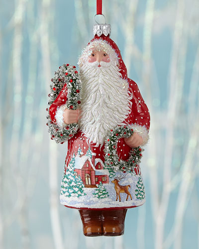 Wreathed Santa Christmas Ornament