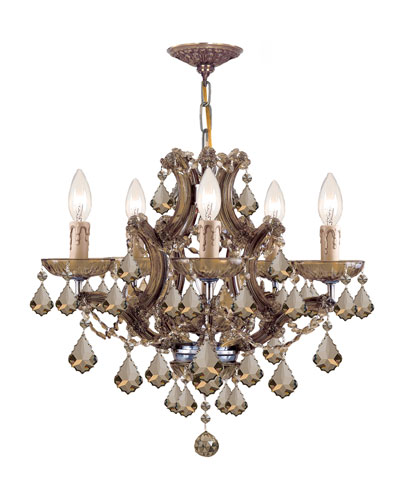 Maria Theresa 6-Light Golden Teak Crystal Brass Chandelier