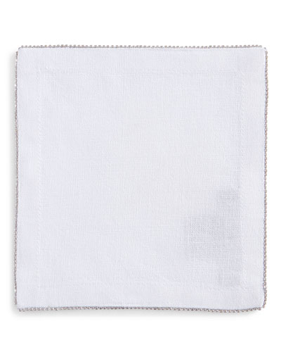 Silver-Beaded Cocktail Napkin