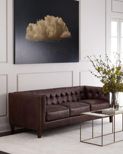 Ordinaire Sable Tufted Leather Sofa