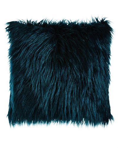 Teal Llama Faux-Fur Pillow