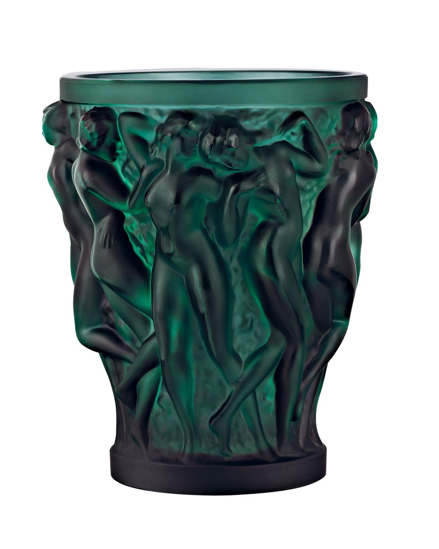 Lalique Home decors BACCHANTES SMALL GREEN VASE