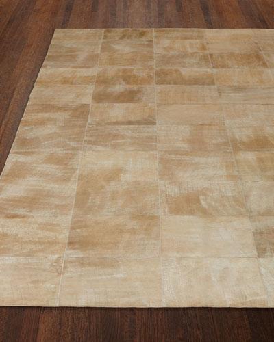Dooley Beige Leather Rug, 5' x 8'