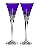 Lismore Pops Purple Toasting Flutes, Set of 2